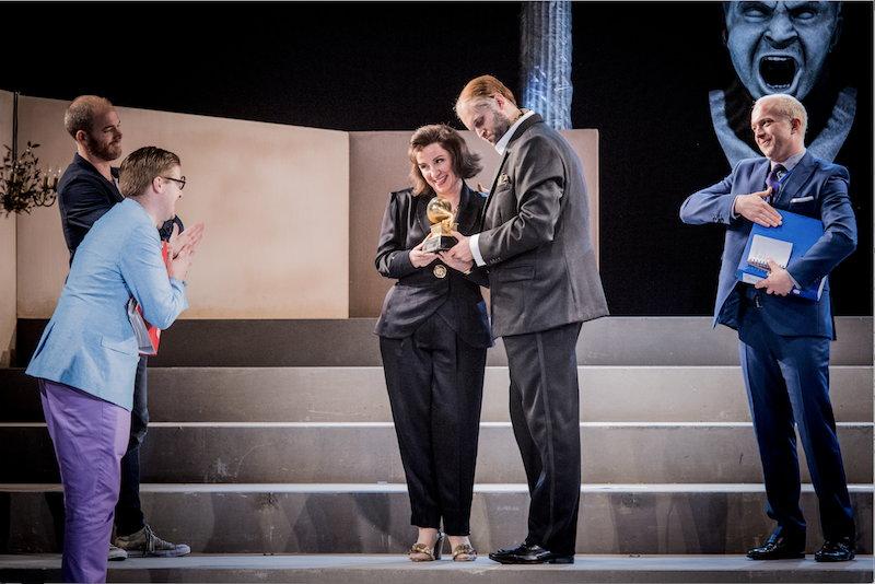 Christopher Ainslie (Ottone) James Hall (Narciso) Anna Bonitatibus (Agrippina) Ashley Riches (Claudio) Alex Otterburn (Pallante) (c) Robert Workman