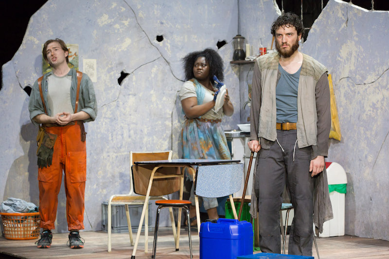 Patrick Terry as Joacim Masabane Cecilia Rangwanasha as Susanna and Michael Mofidian as Chelsias in ROH's Susanna, Linbury 2020